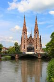 St. Paul's Church And Ill River, Strasbourg, France