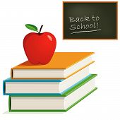 Vector Red Apple on Books and Chalkboard