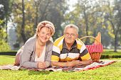 Mature couple lying on a blanket an enjoying a picnic in park