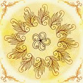 Vector Ethnic Circular Beige Ornament.