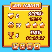 Game yellow level complete icons buttons