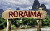 Roraima (Brazilian State) sign with a forest background