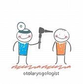 otolaryngologist examines the patient's ear