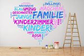 Family tag cloud in German in a heart shape painted on a wall (3D Rendering)