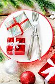 Christmas Background With Gifts On Plate