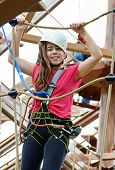 Teenage Girl On The Roap Course Sky Trail