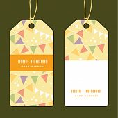 Vector party decorations bunting vertical stripe frame pattern tags set