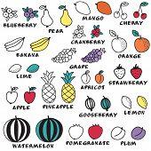Set of doodle fruits - for scrapbook or design.