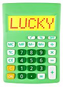 Calculator With Lucky On Display Isolated
