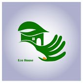 Green Eco House In Hand
