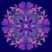 Filigree Damask Background With Butterfly