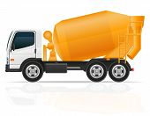 Truck Concrete Mixer For Construction Vector Illustration