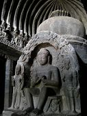 stock photo of ellora  - buddha statue in ancient monastery in asia - JPG