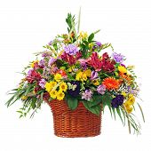 stock photo of centerpiece  - Colorful Flower Bouquet Arrangement Centerpiece in Basket Isolated on White Background - JPG
