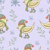 Winter pattern birds snowflake anf plants. Seamless illustration