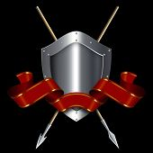 Medieval Shield With Spears And Red Ribbon.