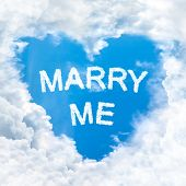 Marry Me Word Nature On Blue Sky