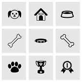 pic of bag-of-dog-food  - Vector black dog icon set on grey background - JPG