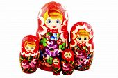 Russian Dolls. Isolated On A White Background. Matryoshka