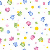 Seamless Pattern With Gift Boxes, Watercolor