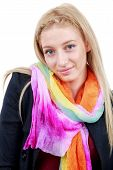 beautiful blonde woman with blue eyes and colorful scarf