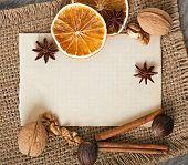 spices and blank paper background
