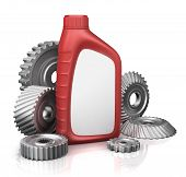 motor oil can with gears.