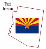 West Arizona State Map And Flag