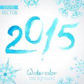 Vector Watercolor New Year 2015 Design.