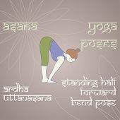 Yoga. Standing Half Forward Bend Pose.