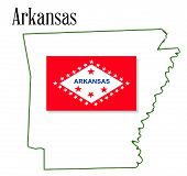 Arkansas State Map And Flag
