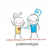pulmonologist listens to the patient lungs
