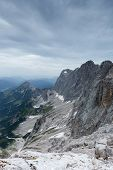 foto of thunderhead  - Dachstein glacier in Austria with dramatic sky - JPG