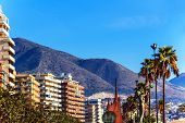 On the beach of Fuengirola, holiday resort near Malaga, Southern Spain