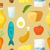 Healthy food vector seamless pattern