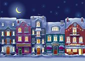 image of midnight  - Old historical houses shops and cafe at the snow - JPG