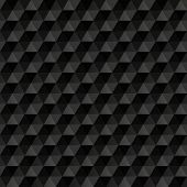 3D Black Abstract Background. Geometric Seamless Pattern.