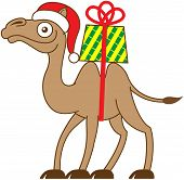 stock photo of humping  - Brown Christmas camel carrying a gift on his back while smiling - JPG
