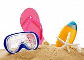 Beach Gear On The Sea Sand