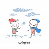 picture of animated cartoon  - winter - JPG