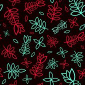 Contrast red and blue seamless floral pattern