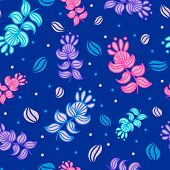Dark blue seamless pattern with colorful imaginary flowers