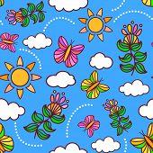 Joyful spring or summer sky seamless pattern with butterflies