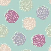 Calm floral rose seamless pattern in pastel retro colors