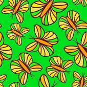 Joyful bright green seamless pattern with floating butterflies
