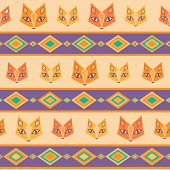 Ethnic geometric seamless pattern with cute foxes