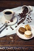 Coffee Mood: Cup Of Coffee, Coffee Beans And Multicolored Macaroons