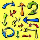 Vector set of hand drawn comics arrows