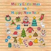 Vector Happy New Year and Merry Christmas sticker set