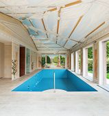 Interior villa, luxury pool decorated with frescoes